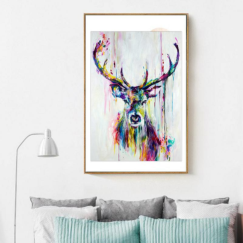 Oil Painting Canvas Art Modern Watercolor Deer Head Inkjet Canvas Poster Print Abstract Animal Picture Frameless Canvas #CW