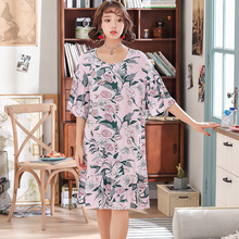 2019 Summer Women Cotton Nightgowns Sleepwear Sleepshirts Nightdress Cute Flower Print Sleep Lounge Short Sleeve Nightwear
