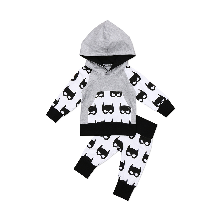 Emmababy Autumn New Arrival Newborn Kids Baby Boys Hooded Tops Pants Batman Outfits Set