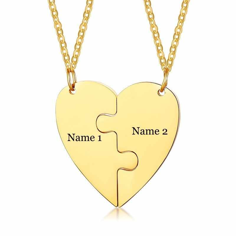 Free Personalized Engraving Love Name Best Friends Necklaces Stainless Steel Heart Puzzle Couple Pendants Set Anniversary Gifts