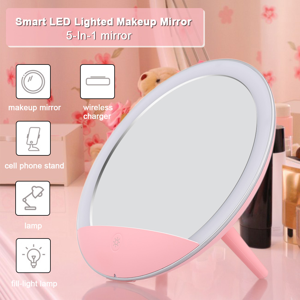 Makeup Mirrors Skin Care Tools Forceful 5-in-1 Makeup Mirror Led Lighted Wireless Charger Make Up Mirror Smart Cosmetic Mirror With Cell Phone Stand