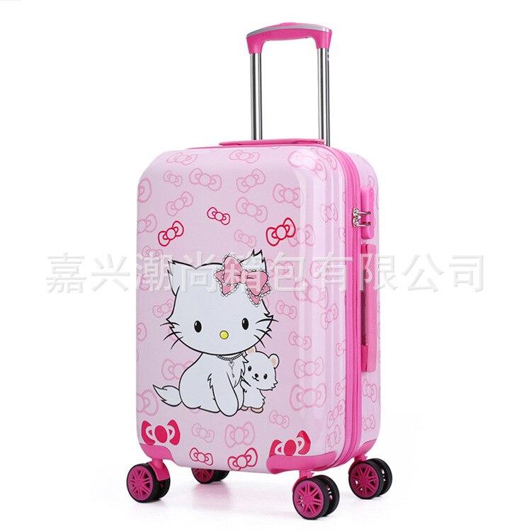20 Zoll Nette Hallo Kitty Girls'luggage Kinder's Stange Box Kinder Reise Gepäck Koffer Tasche Mit Schloss Maletas De Viaje Infantil