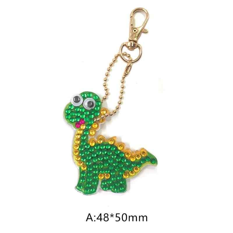 1 pc Keychain DIY Handmade Dinossauro Dos Desenhos Animados Pintura Diamante Broca Completo Bordado Ponto Cruz Mosaic Rhinestone Decoração Pingente