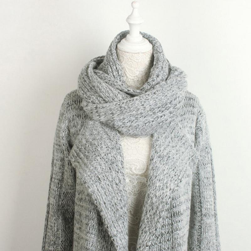 Autumn And Winter New Style Unique Neck And Extra-long Thick Sweater Cardigan Coat