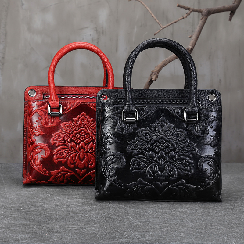 Real Cowhide Cross Body Tote Bag Embossing Handbag Retro High Quality Shoulder Messenger Genuine Leather Women