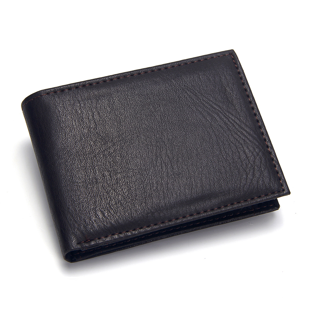 Casual Men's Wallets Leather Solid Luxury Wallet Men Pu Leather Slim Bifold Short Purses Credit Card Holder Business Male Purse(China)