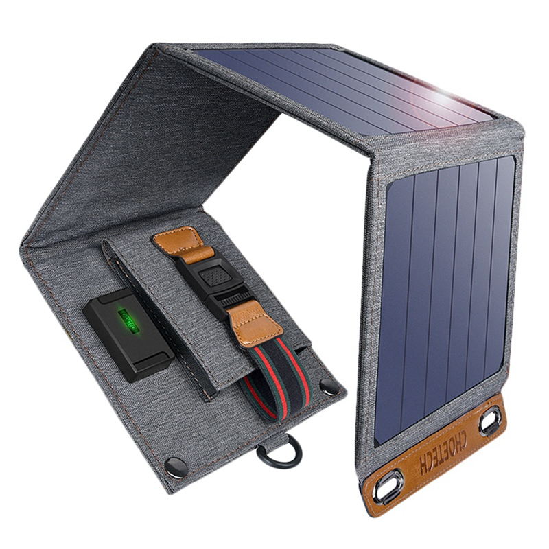Choetech Solar Charger 14W Usb Foldable Phone Travel Charger With Sunpower Solar Panel Waterproof For Iphone