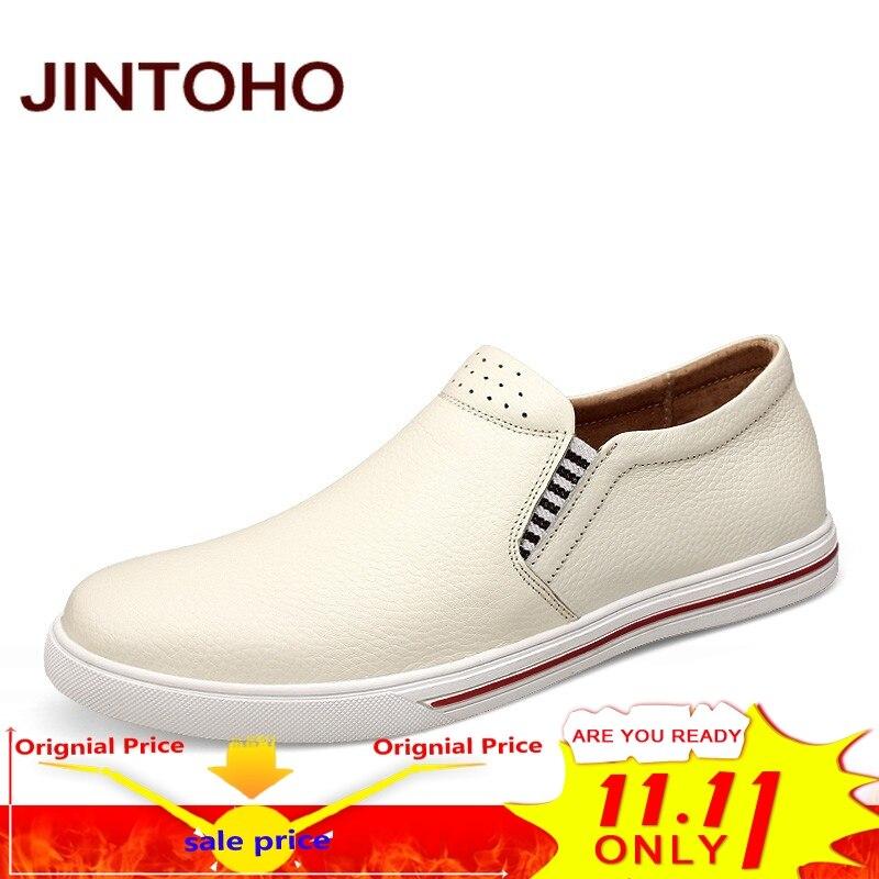 купить JINTOHO big size 38-48 casual men shoes slip on genuine leather men loafers luxury brand male shoes italian mens flats moccasins по цене 1958.54 рублей