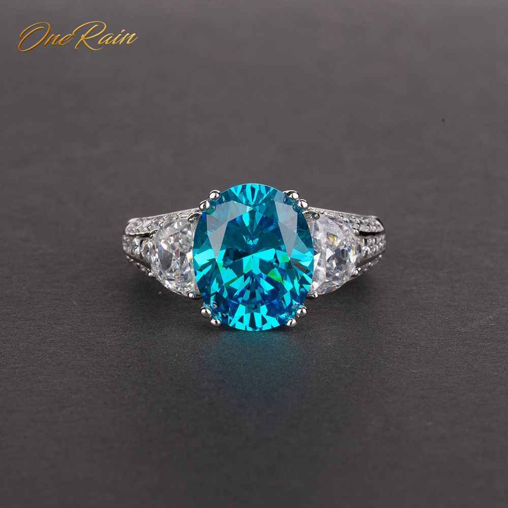 OneRain Vintage 100% 925 Sterling Silver 9 * 11 MM Aquamarine Sapphire Topaz Citrine Wedding Engagement Couple Ring Jewelry 5-12