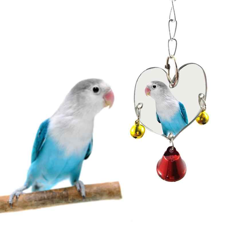 6 размеров одно лицо-зеркало Колокольчик для попугая игрушки Pet птица игрушечное зеркало качели декоративные игрушки для птичьих клеток с расклешенными подвесная клетка игрушка для Попугайчик птицы