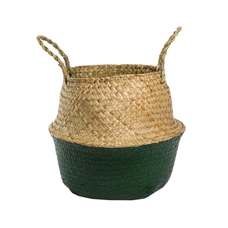 WHISM Rattan Vaso de Flores cesta de Flores Cesta de Vime Tecido Decorativas Vasos De Armazenamento de Lavanderia de Dobramento Cesta de Decoração de Casa Organizador