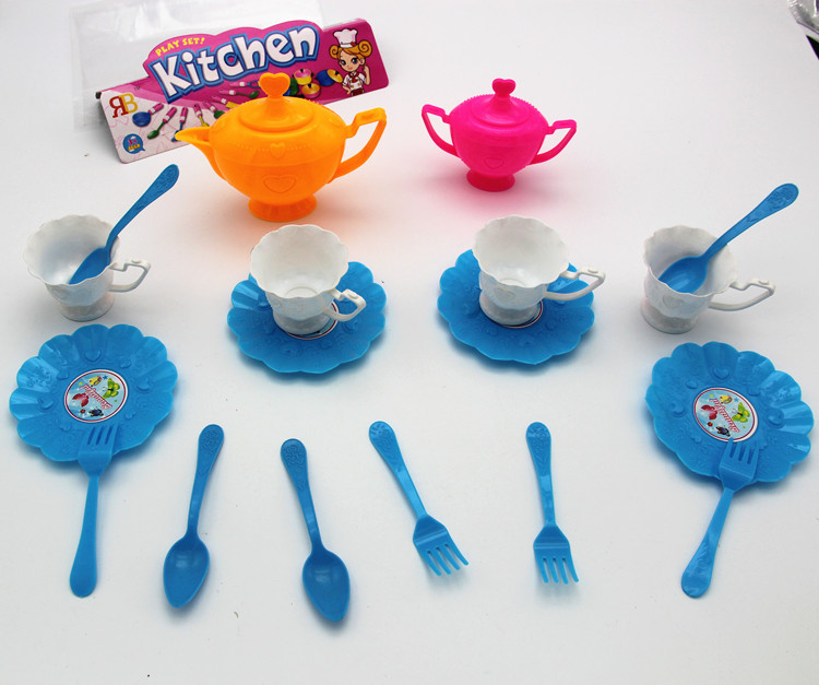 Children's Play House Kitchen Cutlery Set Simulation Afternoon Tea Set Green Plastic Tea Set Toy