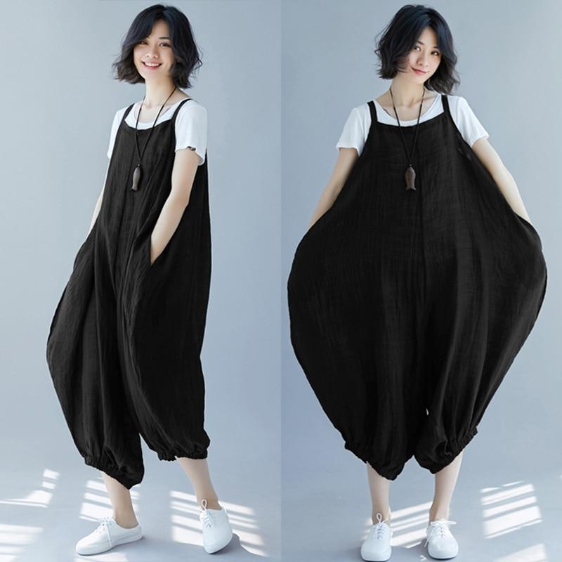 Women's Clothing Zanzea Women Wide Leg Pants Summer Jumpsuits Solid Drop-crotch Harem Pants Combinaison Femme Strap Rompers Overalls Plus Size In Pain