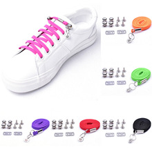 купить 1 Pair New Style Lazy Shoelaces Quick Easy Sneaker Elastic Shoe Laces One-handed Shoelace Sport shoes No Tie Candy Lazy Shoelace дешево