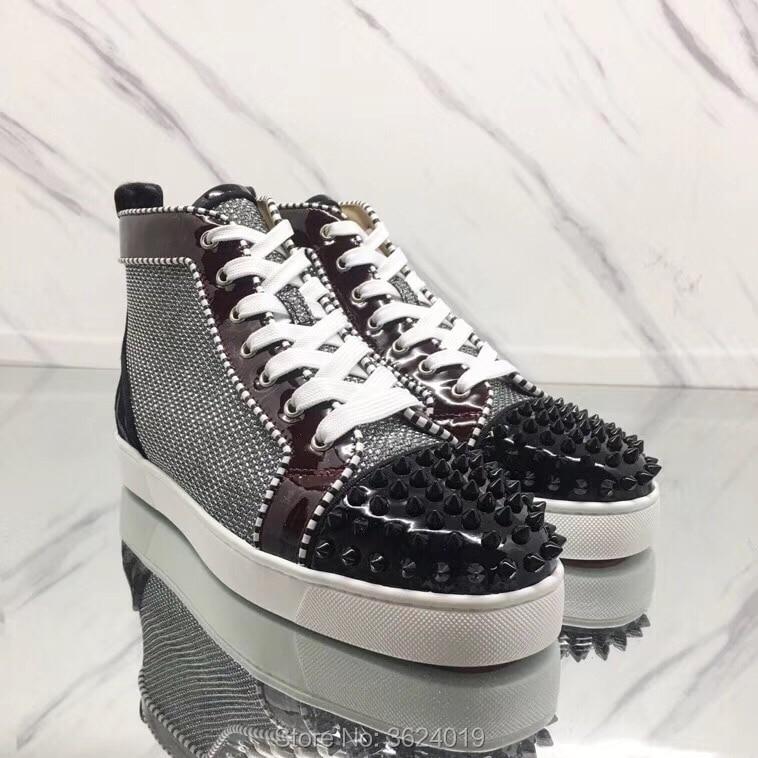 Cut Sneakers Flache Untere Und Schuhe Rote Leder Nieten Silber Für Grosgrain High Casual Andgz Up Weiß Cl Schwarz Mann Lace 4fPqvw1