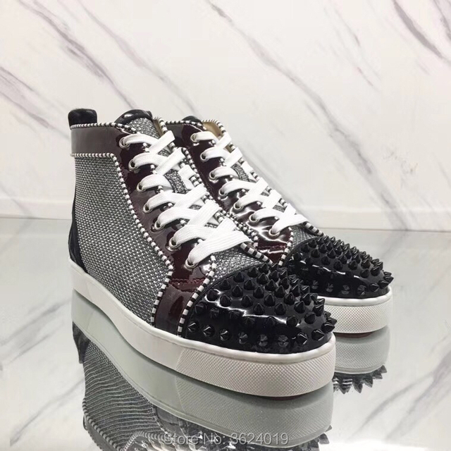 Silver cl andgz Lace Up Black Rivets Red bottom Shoes high Cut sneakers  leather casual For Man Flat black and white grosgrain f58adc46d18a