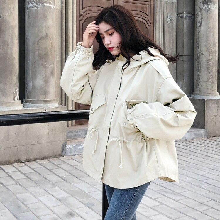 #5621 Spring 2019 Long Windbreaker Coat Women Harajuku Streetwear Plus Size Bomber Jacket With Hood Drawing Waist Loose