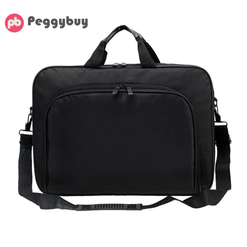 Men Business Laptop Bag Portable Nylon Computer Handbags Zipper Shoulder Simple Laptop Shoulder Handbag Briefcase Black 2019