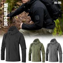 Зимнее пальто Для мужчин военные Удобная флисовая куртка Форма Мягкая оболочка Повседневное Мужская куртка с капюшоном Термальность армии Костюмы