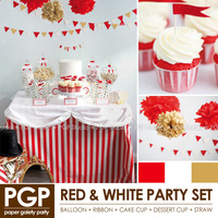 [PGP] Red & White Circus Party Set, Cake Topper cup flag garland straw, for Kids Birthday Children's day Carnie theme Christmas
