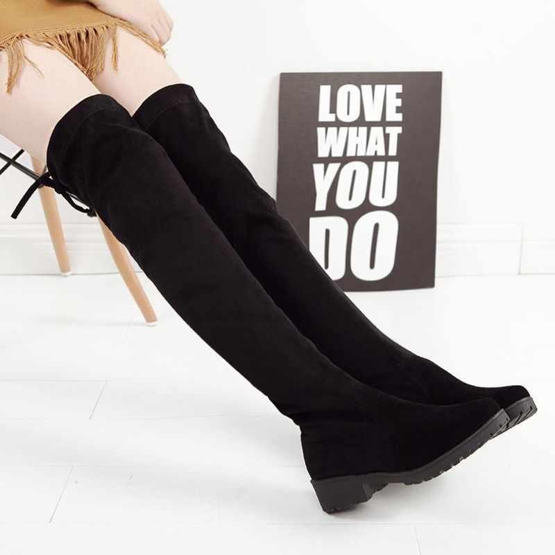 2018 שחור ירך גבוהה מגפי חורף מגפי נשים מוצק מעל הברך מגפי שטוח למתוח סקסי אופנה נעלי מכירה לוהטת JA0017