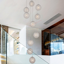 Modern Nordic led crystal chandelier.Double staircase chandelier.Living room dining chandelier.Decorative household lamp
