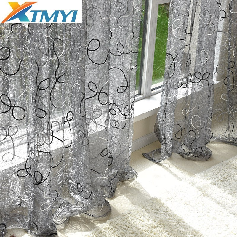 Tulle Curtains Window-Blinds Lace Bedroom Gray Living-Room Embroidered European-Style