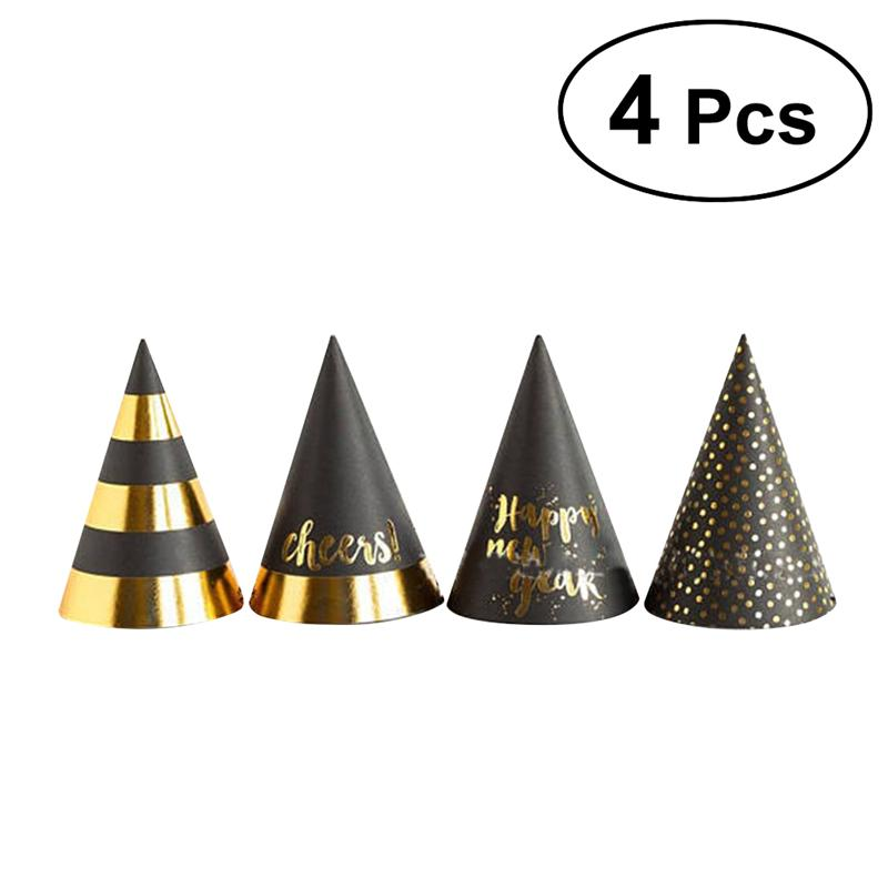 4pcs New Years Party Hats Cone Hats Decorative Novelty Toy Cartoon Hats For Kid'S Party Supplies