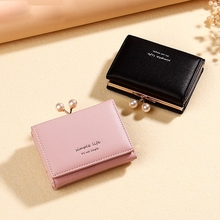 2019 Leather Mini Wallet Trend Clip Coin Purse Ladies Short Section 30 Fold Pu Wallet Leather Wallet Girl Fresh Hand Wallet dudini fashion casual style ladies wallet solid color lichee pattern women wallets 3 fold pu leather short section small wallet