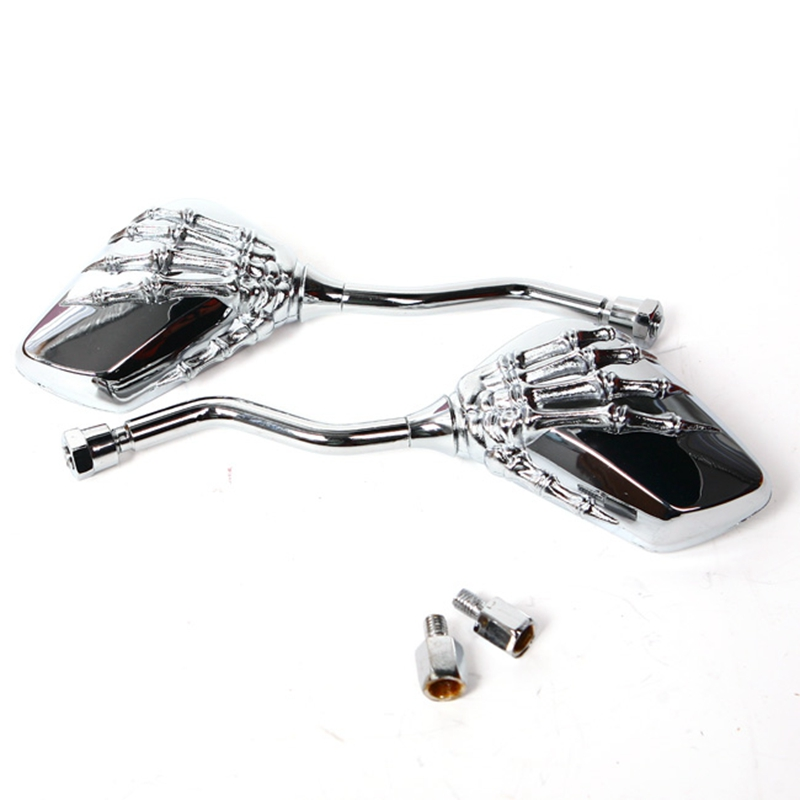 Free Shipping Universal Motorcycle Scooter Back Side Mirror Modification Skull Craw Shadow Rear View Mirrors Pair 8mm 10mm