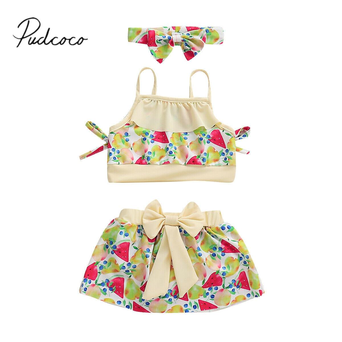 2019 Brand New Summer Kids Baby Girl Bikini Set Fruit Printing Swimsuit Swimwear Bathing Suit -9543