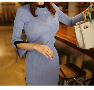 Image 4 - 2020 New spring Autumn Knitted two Piece Set Women Outfits Sweaters pullover Tops + high waist Long Skirt set ensemble femme