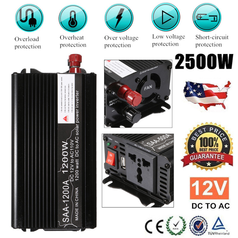Max 2500W 1200W Solar Power Inverter 12V DC to 110V AC Modified Sine Wave Car Charge Converter Transformer