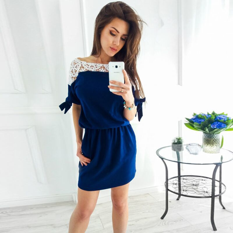 Hot Fashion Summer Lace Patchwork Batwing Sleeve Bow Short Sleeve Shrink Waist Pockets Howllow Lace Straight Casual Vestidos