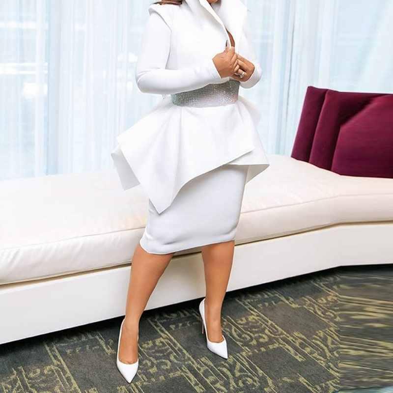 Lato elegancka impreza biały OL pani afryki styl kobiety 2 sztuk zestawy na co dzień duży rozmiar płaszcze Bodycon spódnice Ruffles kobieta garnitury