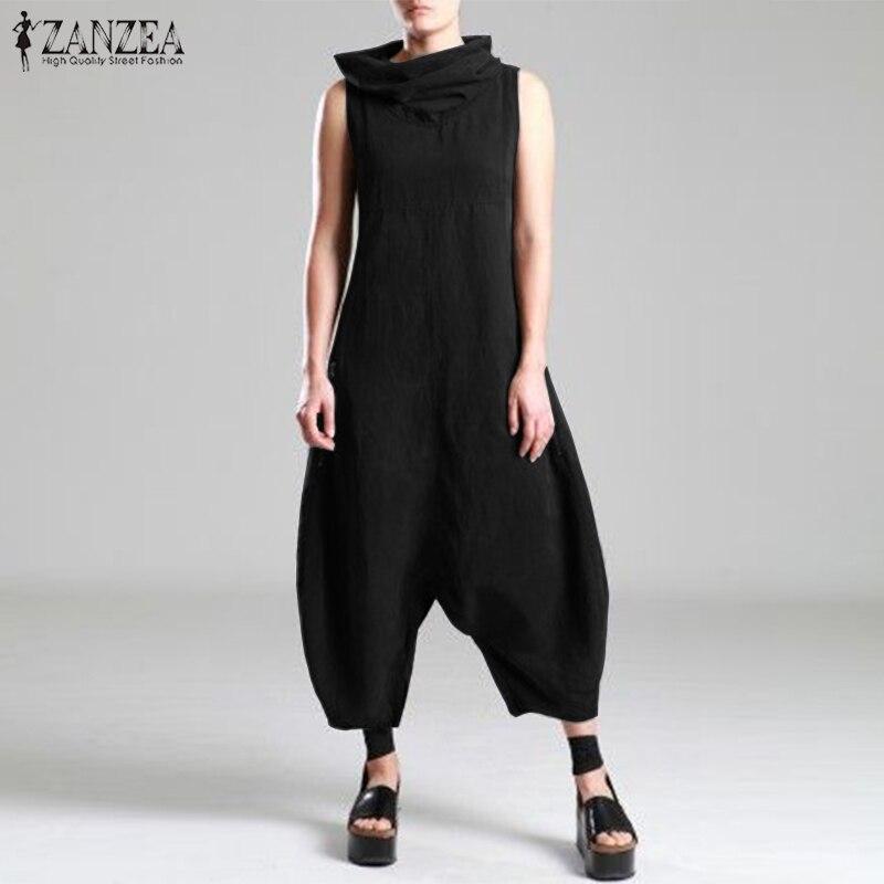 Plus Size Linen Overalls Women's   Jumpsuits   ZANZEA 2019 Summer Pantalon Female Drop Crotch Turtleneck Rompers Combinaison Femme