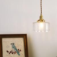 EL Vintage Pendant Lights Ripples Glass Copper Pendant Lamp Modern Pendant Light Bedroom Brass Lamp Indoor Lighting