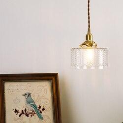 EL lampy wiszące w stylu vintage Ripples szklany miedziany żyrandol lampa nowoczesna lampa wisząca sypialnia lampa mosiężna oświetlenie wewnętrzne w Wiszące lampki od Lampy i oświetlenie na