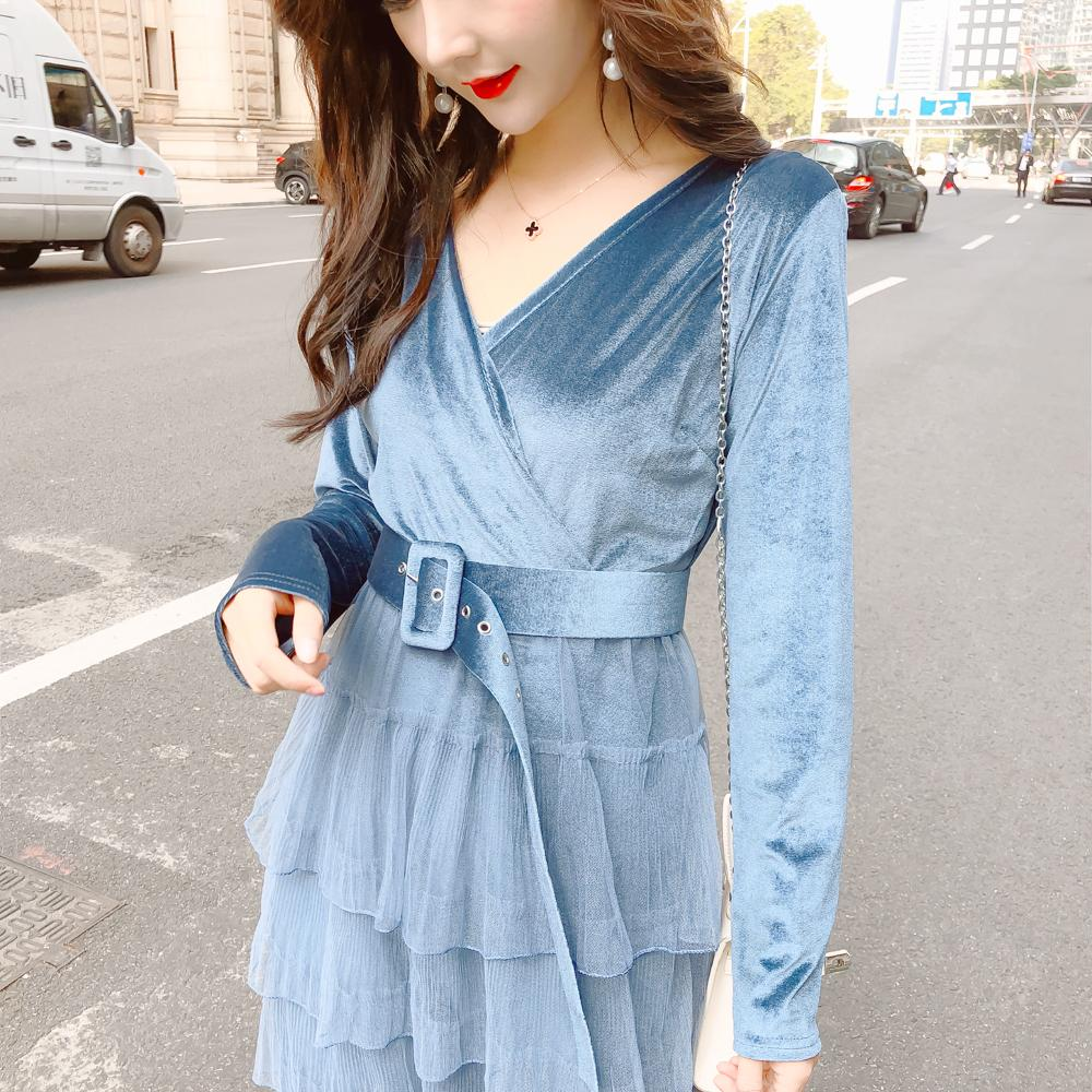 2019 spring autumn female cross v neck corduroy patchwork chiffon pleated dress with belt sweet women
