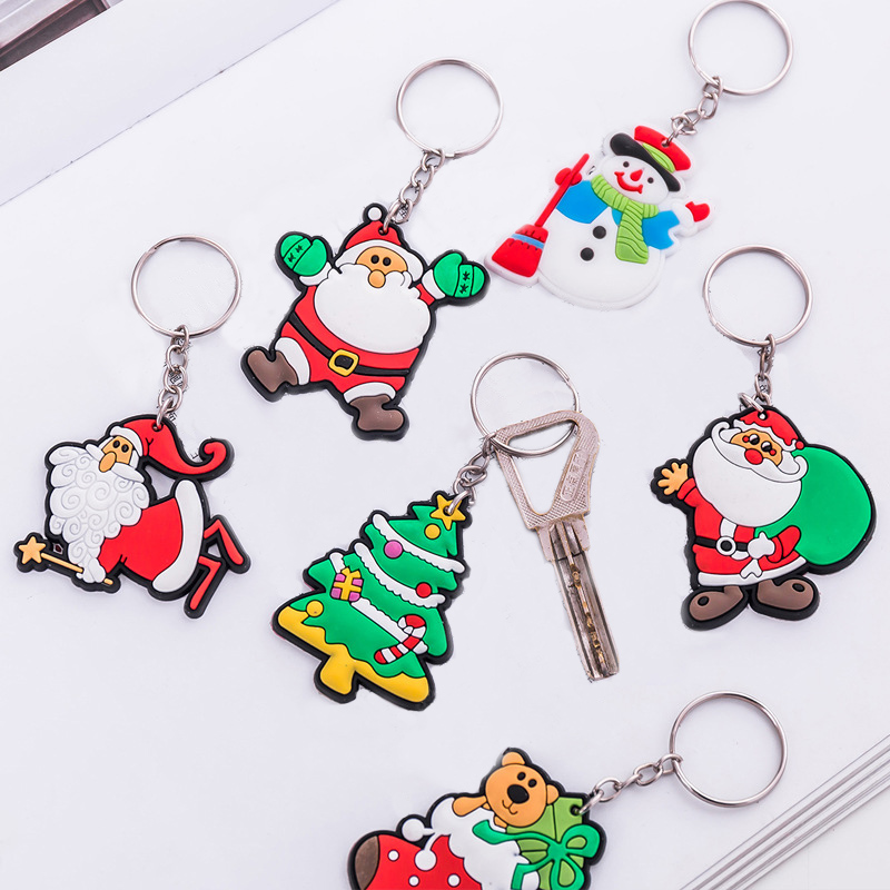 Sale Cute Funny Cartoon Christmas Keychain Santa Claus Pvc  Bags Key Rings Key Chain Gift Drop Shipping