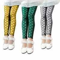 Mermaid Scale Printing Summer Autumn Kids Baby Girls Leggings Skinny Full Children Pants Leggins Girl Clothes 2-12Y