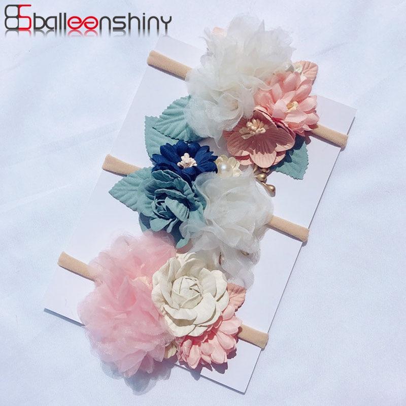 Balleenshiy 2019 New Fashion Florals Baby Headband Handmade Flower Children's Nylon Hair Band Baby Girl Hair Accessories Turban