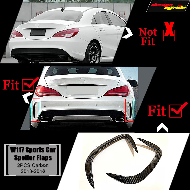 For Mercedes Benz W117 Splitter Lips Rear Bumper Canards Carbon CLA Class CLA180 CLA200 A250 CLA45 Package Sport Edition 2013 18 in Bumpers from Automobiles Motorcycles