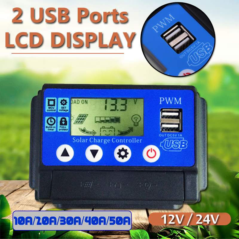 10A/20A/30A/40A/50A Solar Charge Controller Regulator 12V/24 Automatic Identification Dual USB LCD Display PWN Solar Panel10A/20A/30A/40A/50A Solar Charge Controller Regulator 12V/24 Automatic Identification Dual USB LCD Display PWN Solar Panel