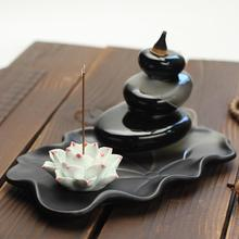 Ceramic Backflow Incense Burner Smoke Waterfall Stick Holder Mountain River Handicraft Crafts