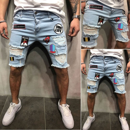Men Shorts Stretchy Ripped Skinny Biker Jeans Destroyed Taped Denim Pant Short