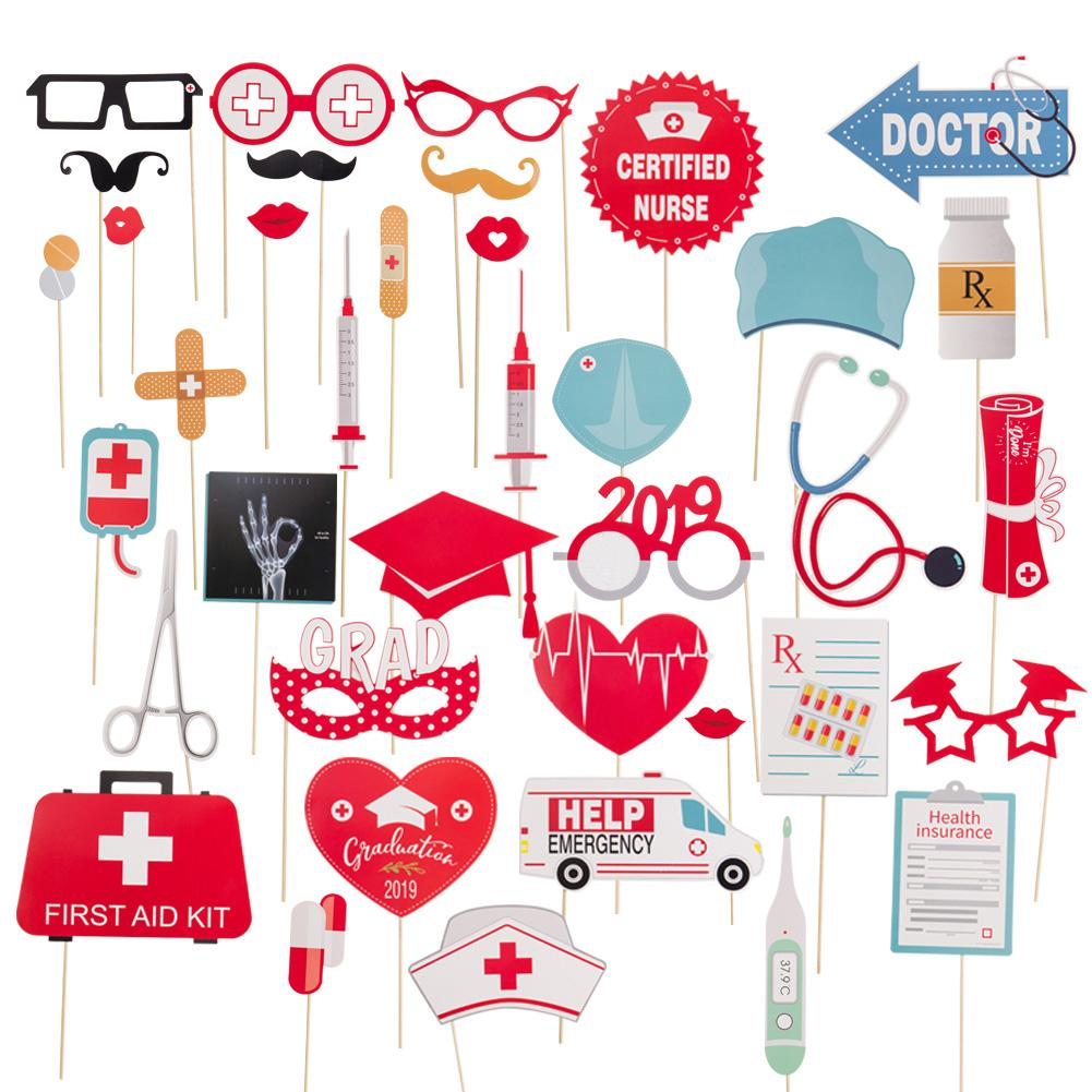 38pcs/pack Doctor Nurse Graduation Party Photo Booth Props Medical Themed Class Congratulation Grad DIY Paper Decor Supplies