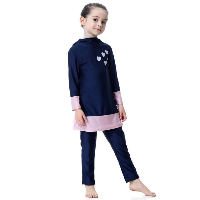 Image 4 - Kids Girl Muslim Swimwear Arab Islam Long Sleeve Two Piece Hoodie SwimsuitChildrens Two-Piece Suits