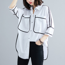 #2806 Summer White Shirt For Women Big Pockets Black Striped Large Size Casual Tunic Loose Plus Blouse Fashion