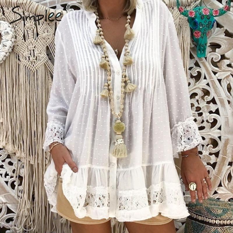 Simplee Transparent lace embroidery women blouse shirt Long sleeve plus size female top shirt Dot print chiffon ladies tops 2019